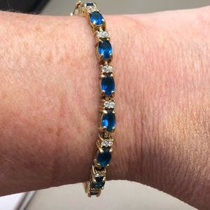 Sapphire Diamond Gold Tennis Bracelet